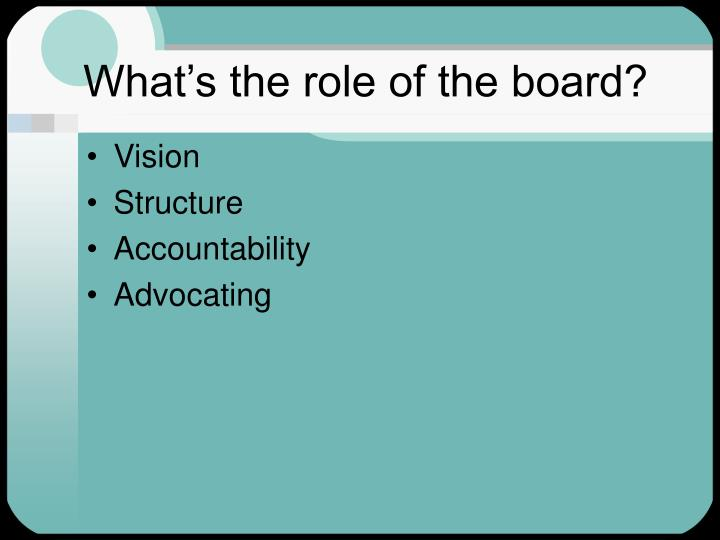 What's the role of the board?