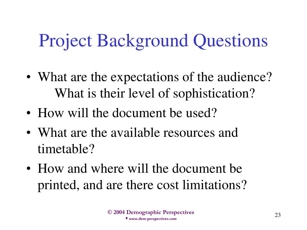 Project Background Questions
