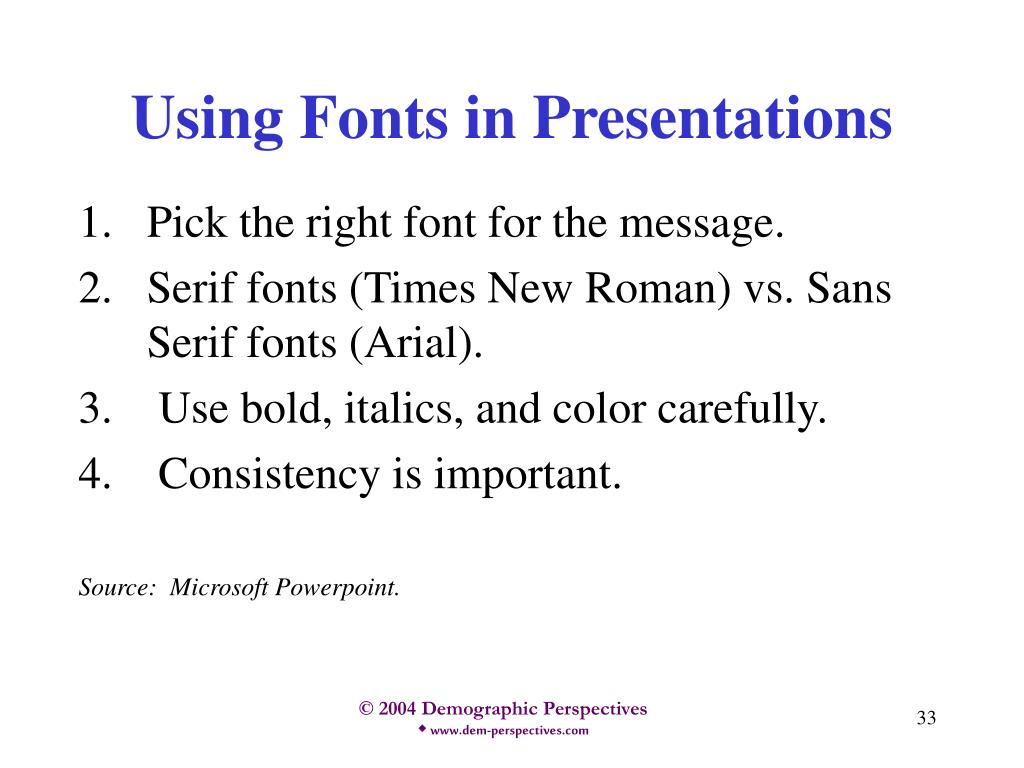 Using Fonts in Presentations