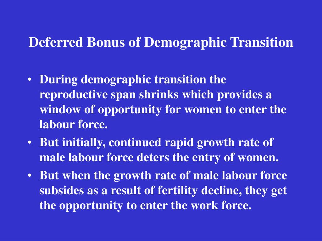 Deferred Bonus of Demographic Transition