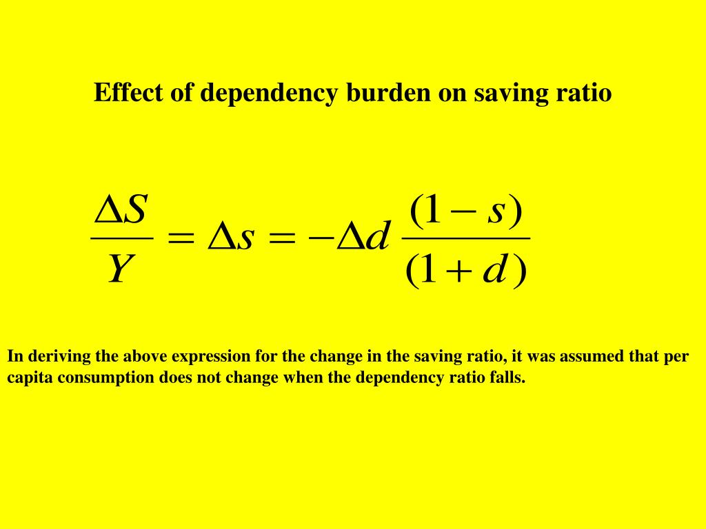Effect of dependency burden on saving ratio