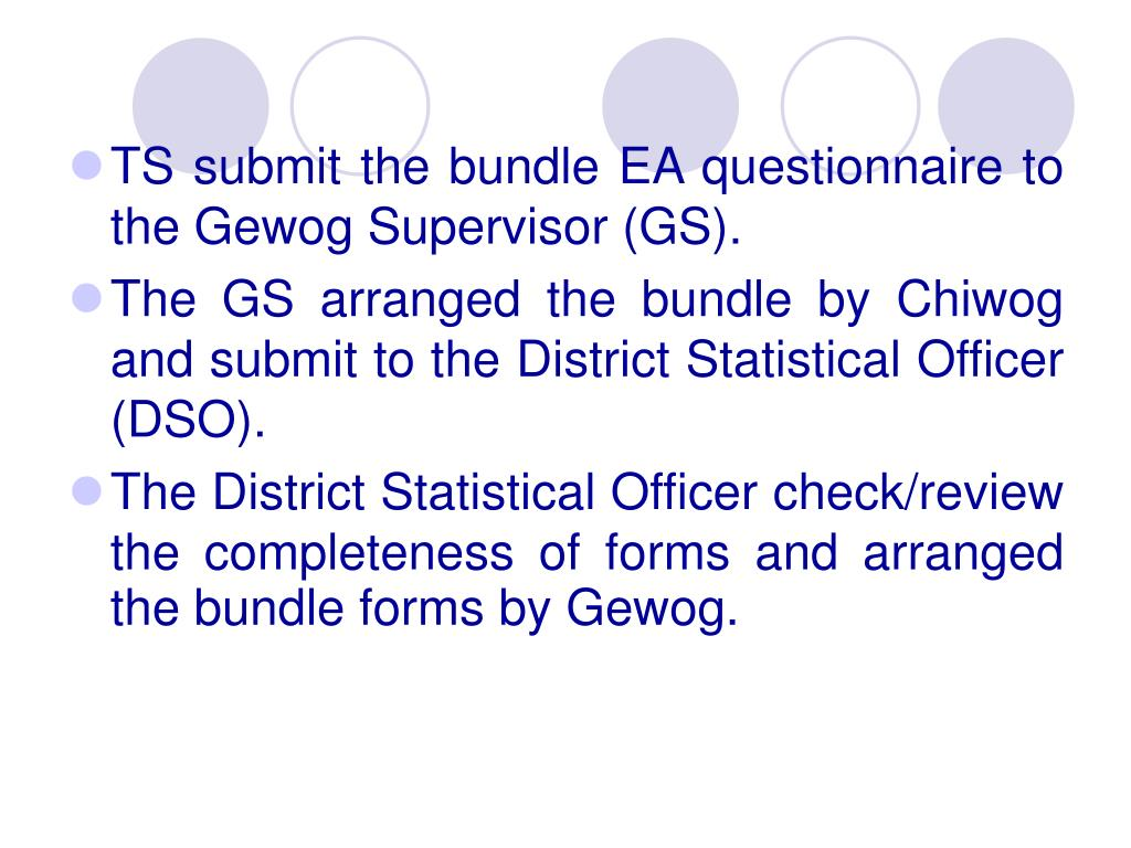 TS submit the bundle EA questionnaire to the Gewog Supervisor (GS).