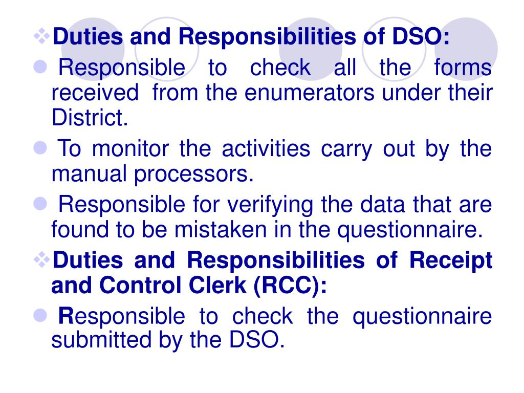 Duties and Responsibilities of DSO: