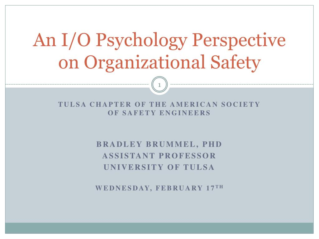 An I/O Psychology Perspective on Organizational Safety