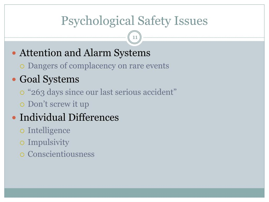 Psychological Safety Issues