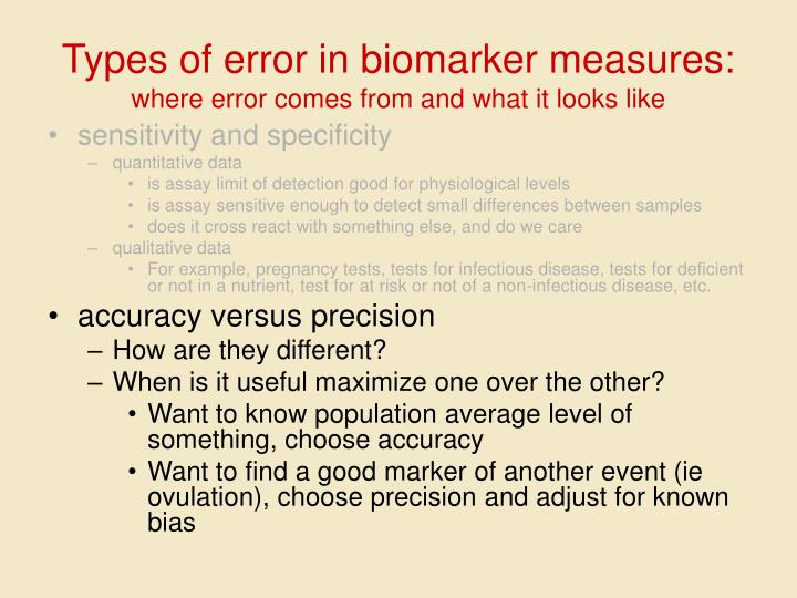 Types of error in biomarker measures: