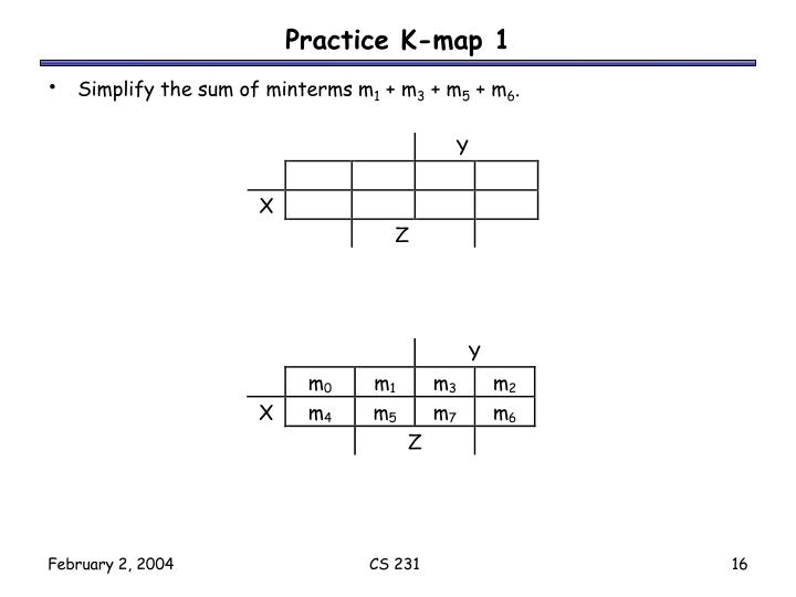 Practice K-map 1