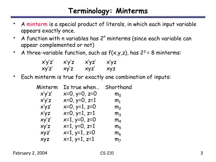 Terminology: Minterms