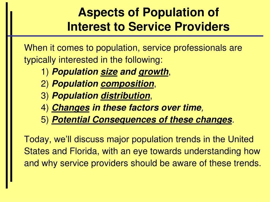 Aspects of Population of