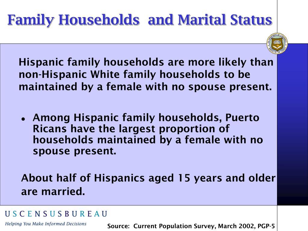 Family Households  and Marital Status