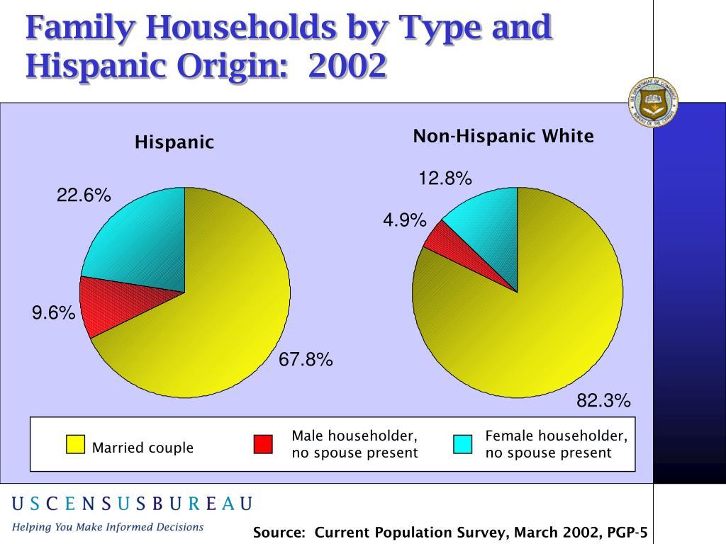 Family Households by Type and  Hispanic Origin:  2002