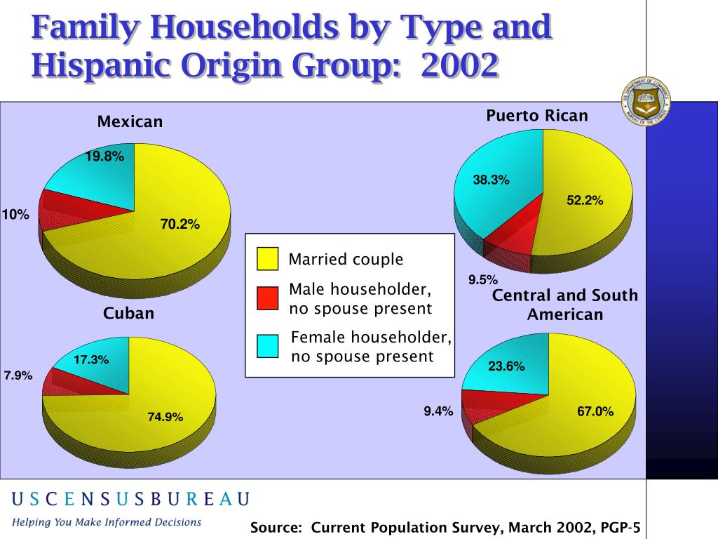 Family Households by Type and Hispanic Origin Group:  2002