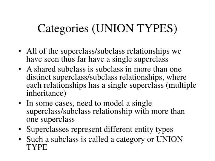 Categories (UNION TYPES)
