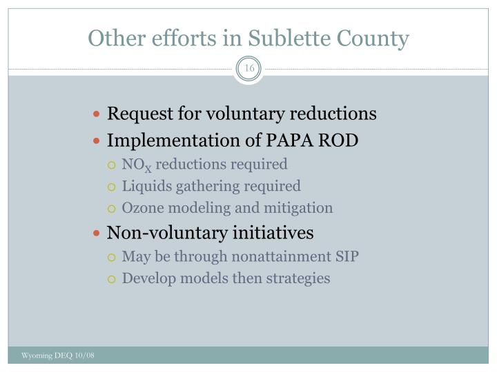 Other efforts in Sublette County