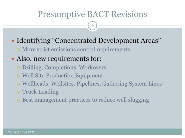 Presumptive BACT Revisions
