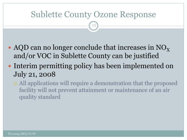 Sublette County Ozone Response