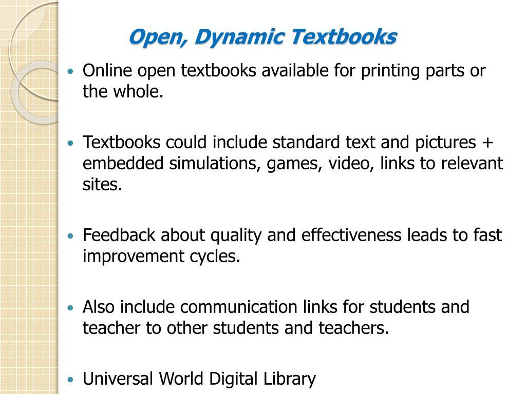 Open, Dynamic Textbooks