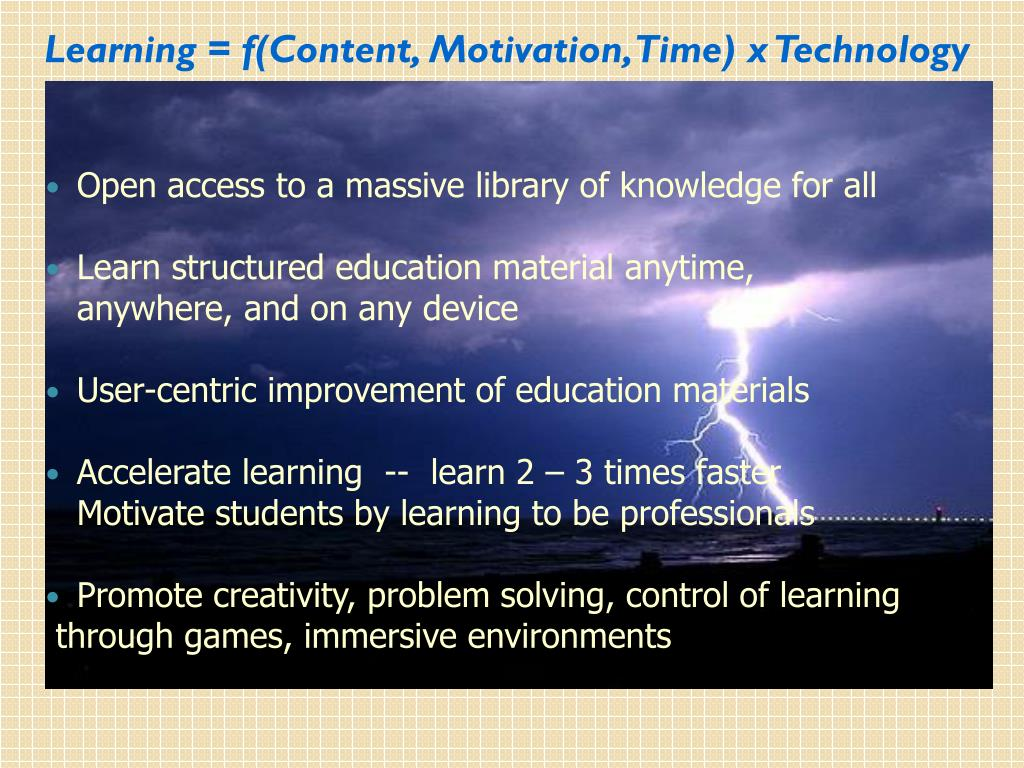 Learning = f(Content, Motivation, Time) x Technology