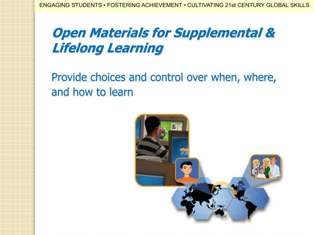 Open Materials for Supplemental & Lifelong Learning