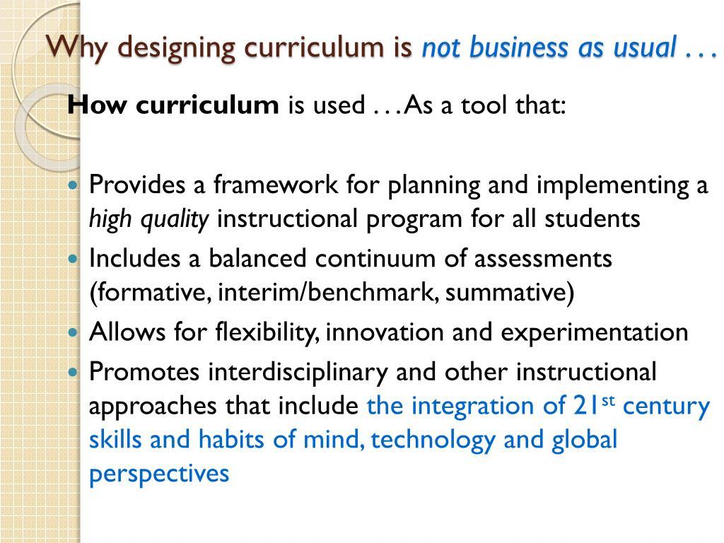 Why designing curriculum is