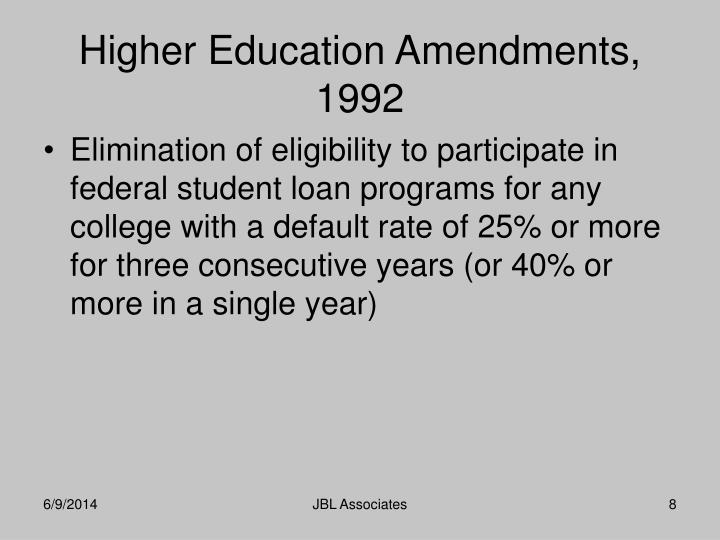 Elimination of eligibility to participate in federal student loan programs for any college with a default rate of 25% or more for three consecutive years (or 40% or more in a single year)