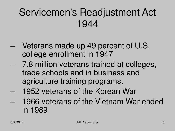 Veterans made up 49 percent of U.S. college enrollment in 1947