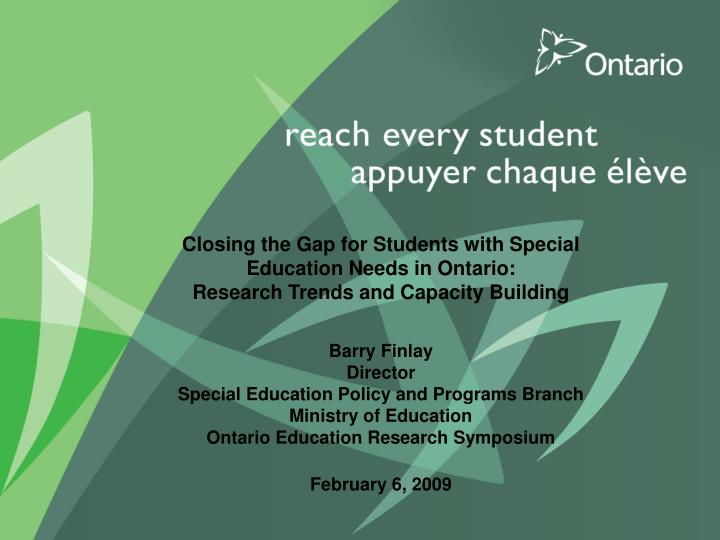 Closing the Gap for Students with Special Education Needs in Ontario: