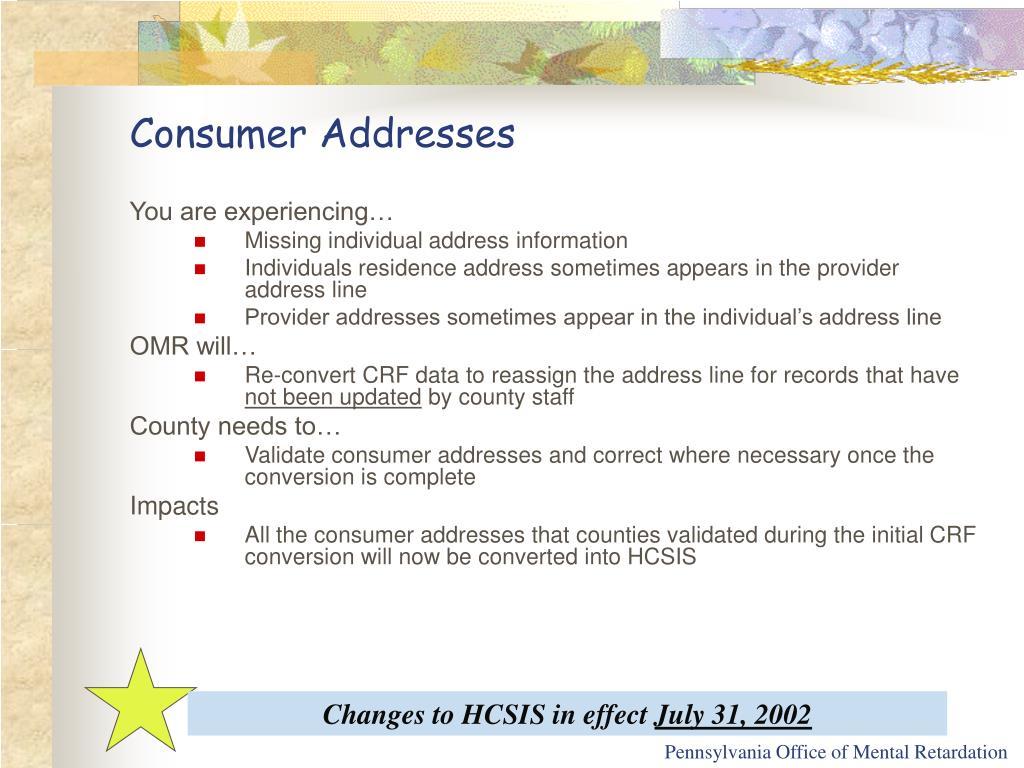 Consumer Addresses