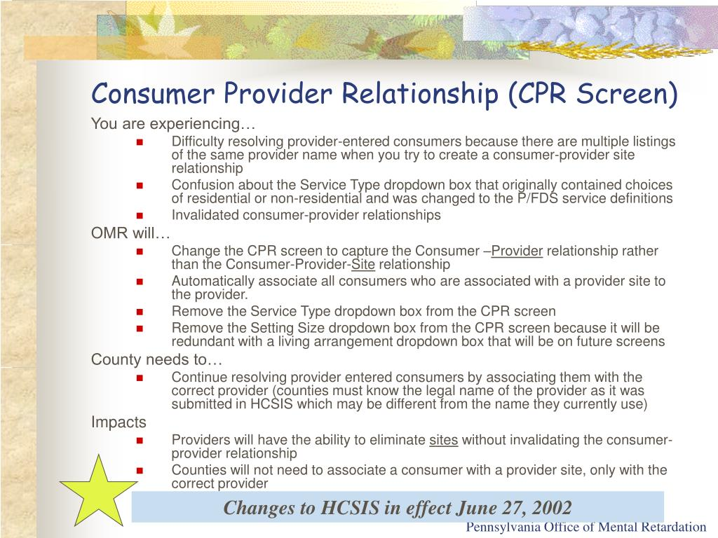 Consumer Provider Relationship (CPR Screen)