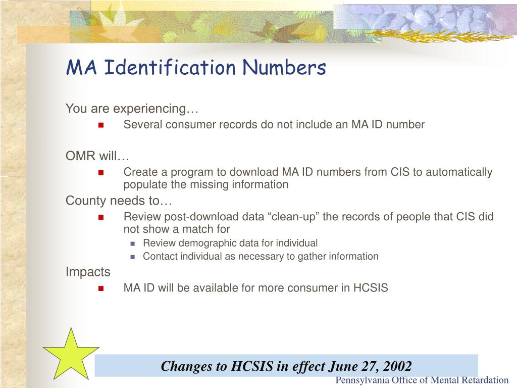 MA Identification Numbers