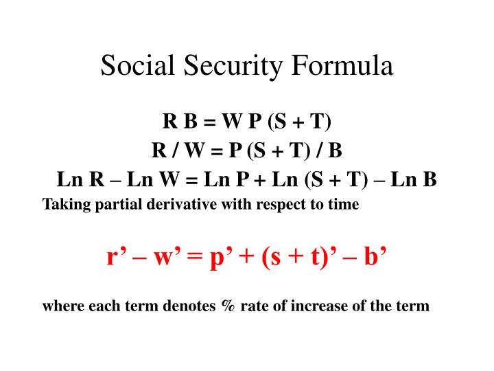 Social Security Formula