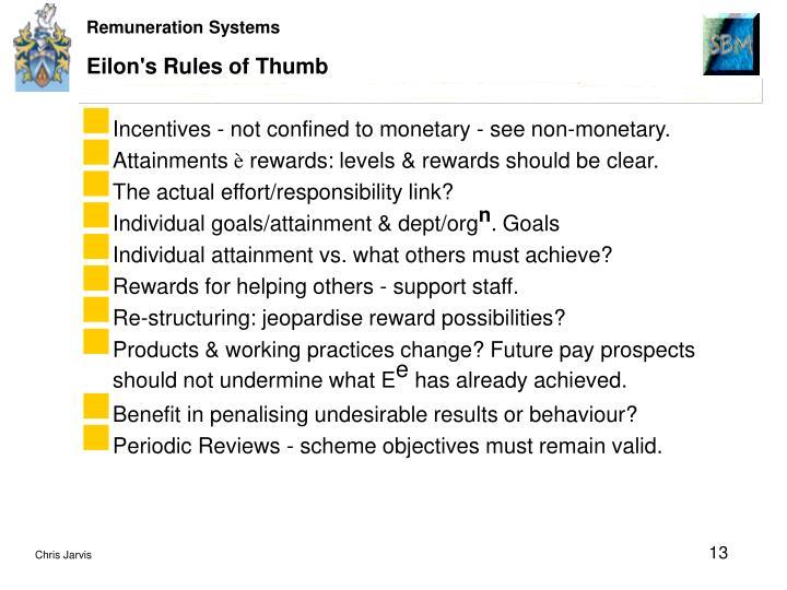 Eilon's Rules of Thumb