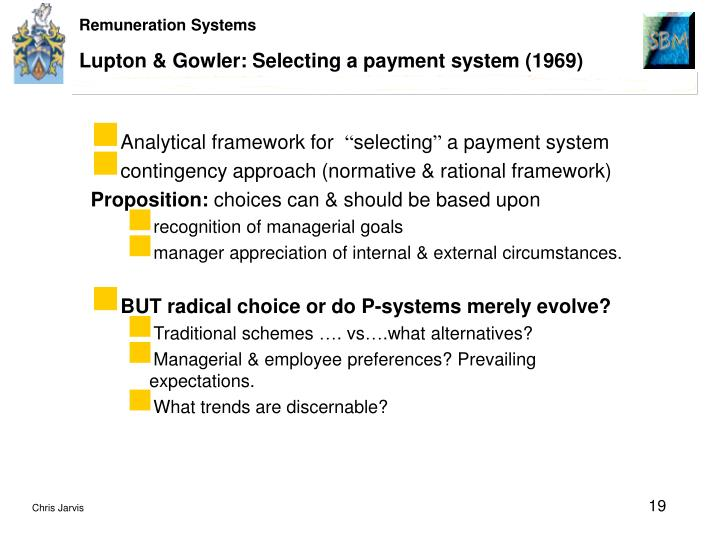 Lupton & Gowler: Selecting a payment system (1969)