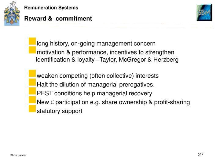 Reward &  commitment