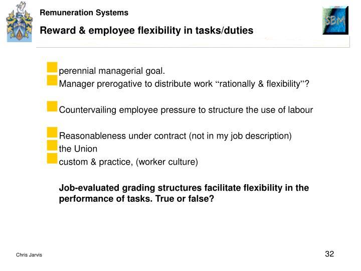 Reward & employee flexibility in tasks/duties