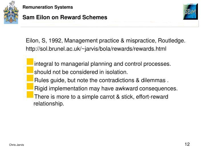 Sam Eilon on Reward Schemes