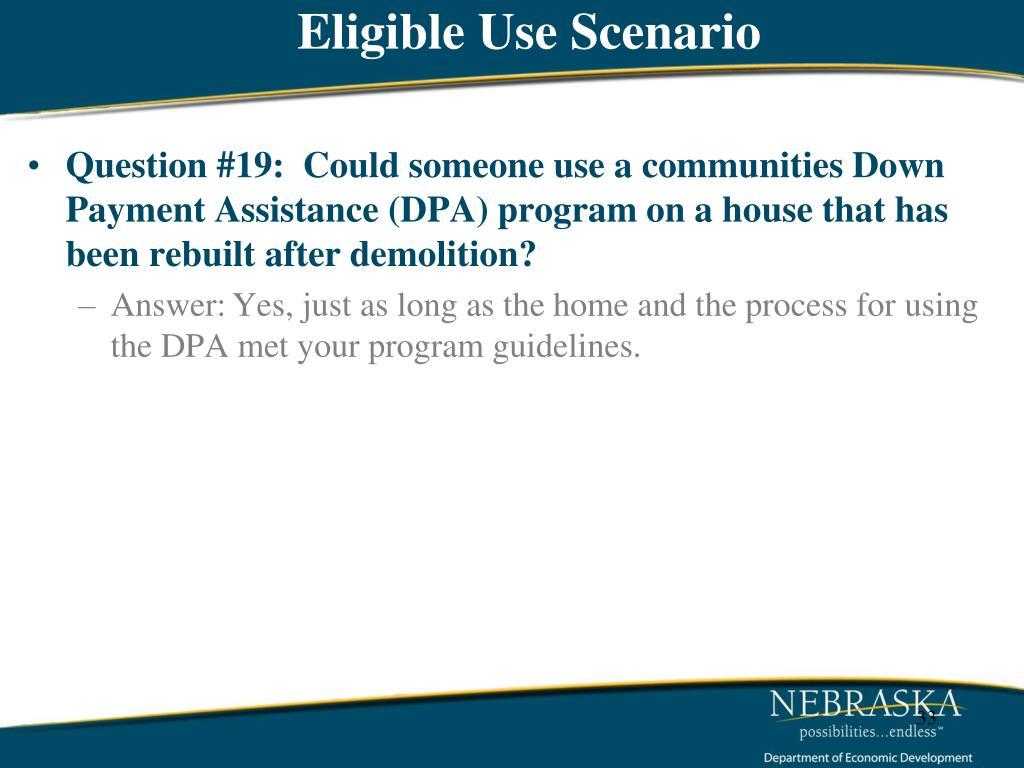 Eligible Use Scenario