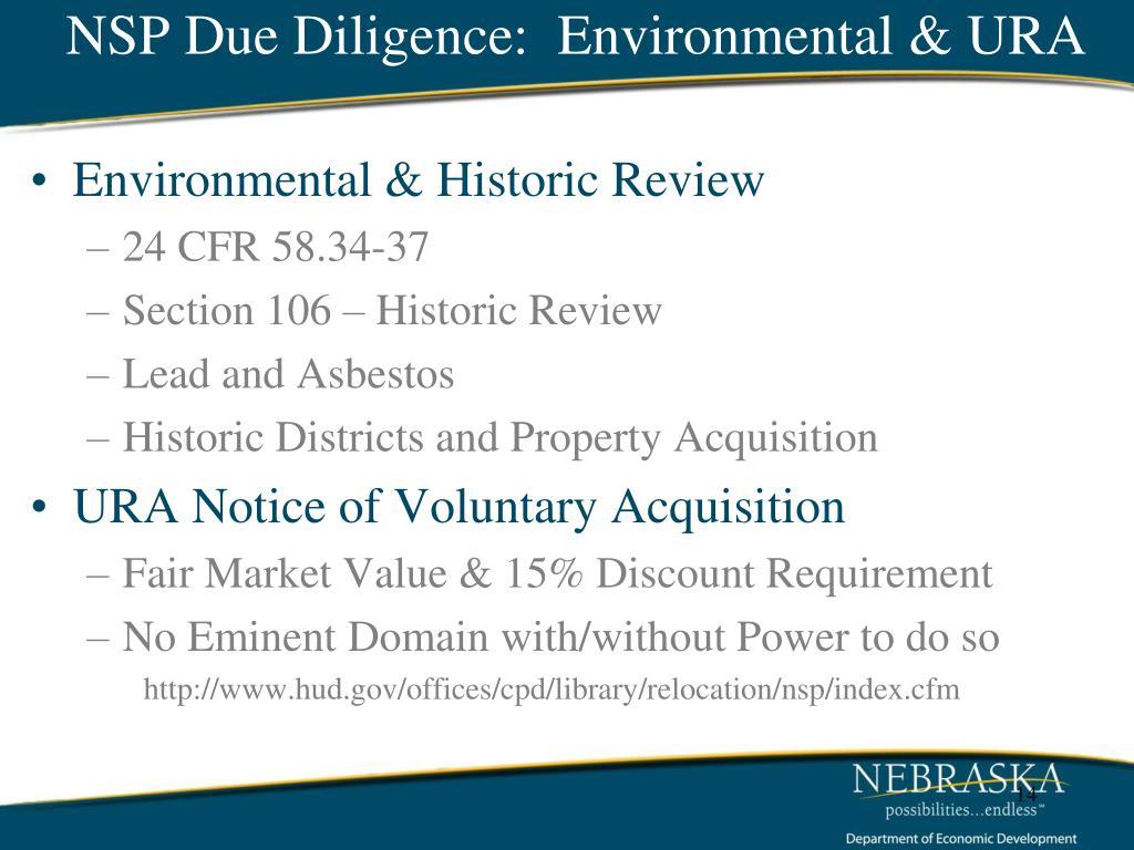 NSP Due Diligence:  Environmental & URA