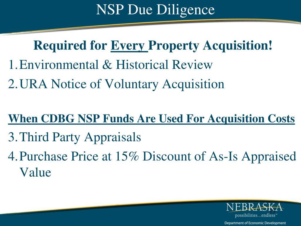NSP Due Diligence