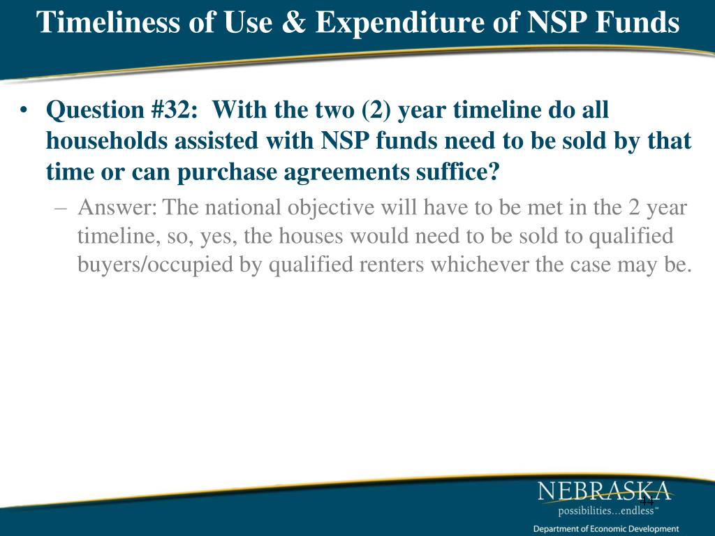 Timeliness of Use & Expenditure of NSP Funds