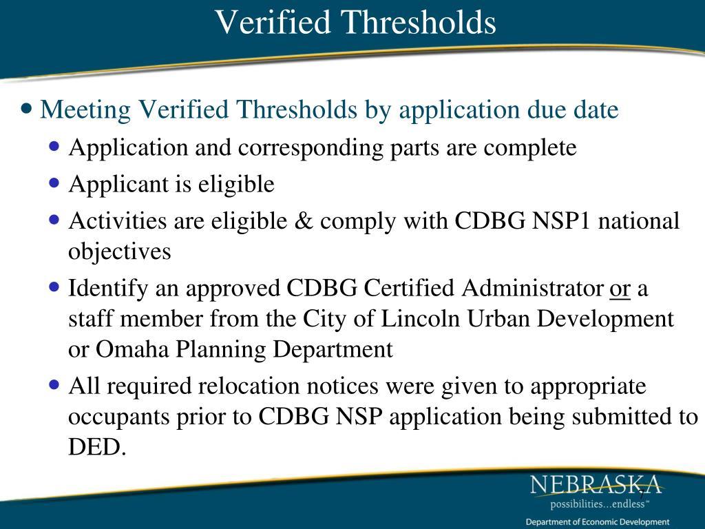 Verified Thresholds