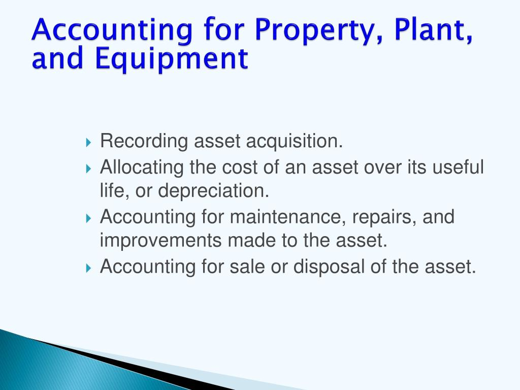 Accounting for Property, Plant, and Equipment