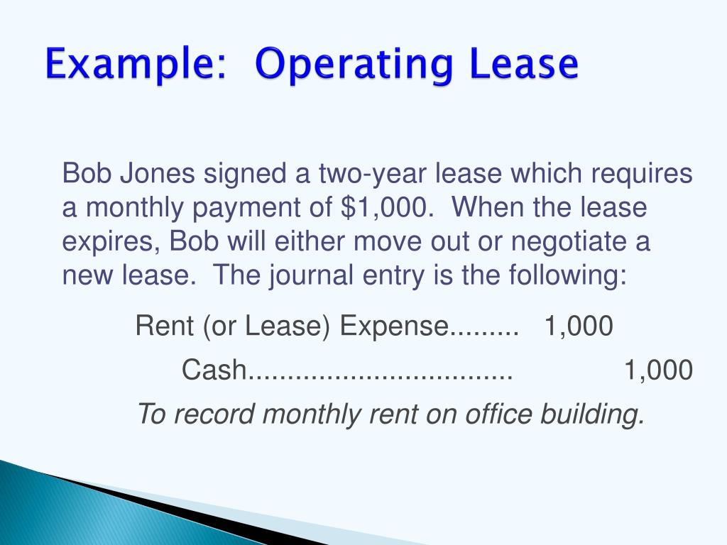 Example:  Operating Lease