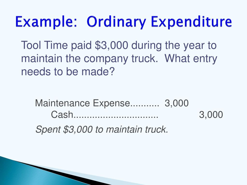 Example:  Ordinary Expenditure