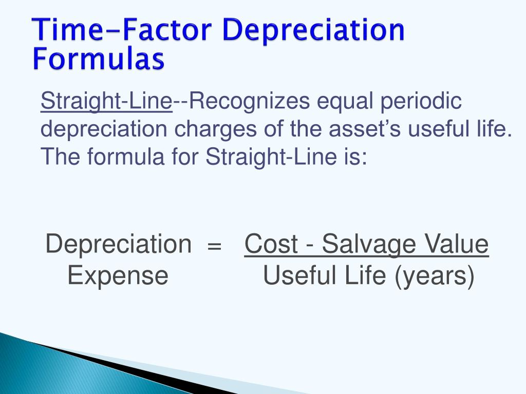 Time-Factor Depreciation Formulas