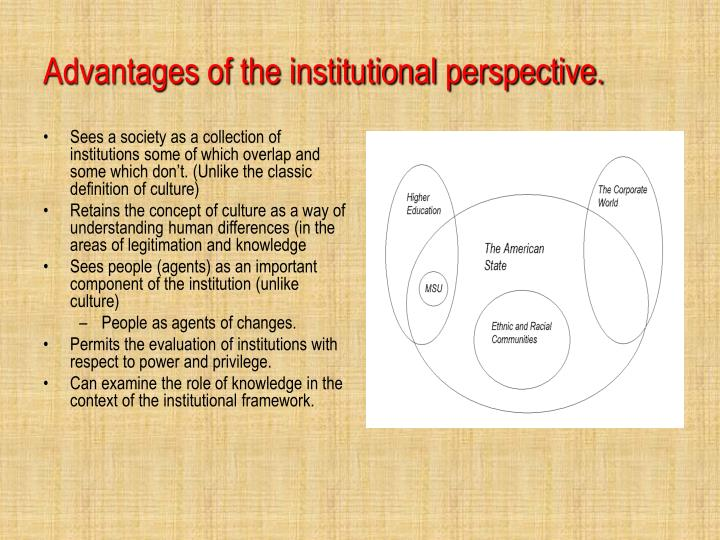 Advantages of the institutional perspective.