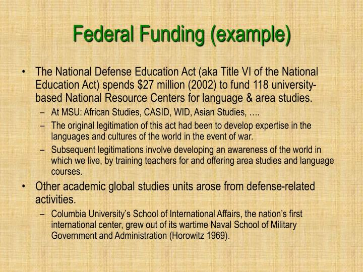 Federal Funding (example)