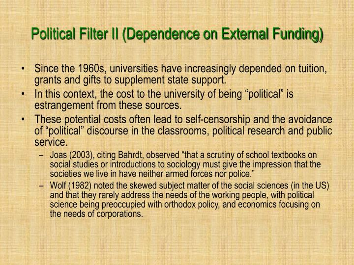 Political Filter II (Dependence on External Funding)
