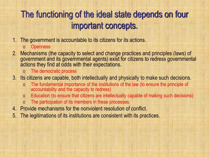 The functioning of the ideal state depends on four important concepts.