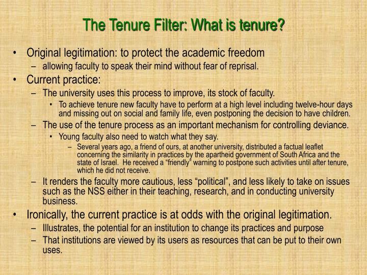 The Tenure Filter: What is tenure?